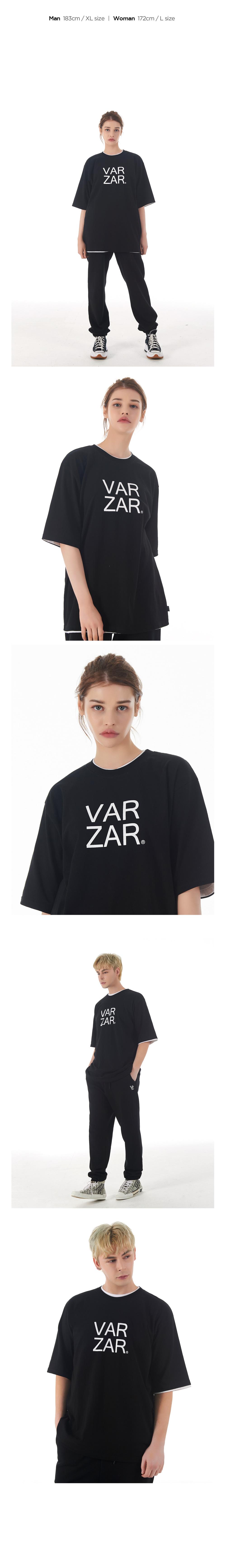 바잘(VARZAR) 오리지널 화이트 빅로고 반팔 티셔츠 블랙